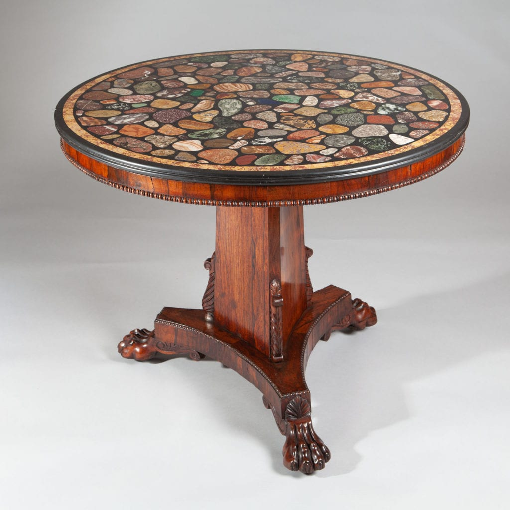 Regency Rosewood And Specimen Marble Round Centre Table