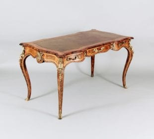 Gilt Bronze Mounted Coil Walnut Goncalo Alves & Tulipwood Bureau Plat Attributed To Gillows