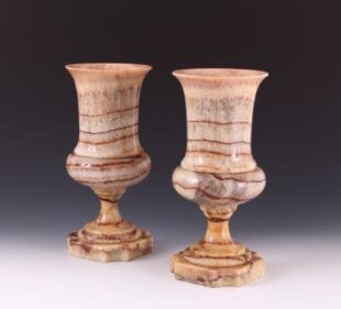 Incredibly Rare Pair 19th Century Derbyshire Spar Campana Shaped Vases