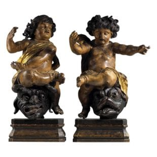 North European Carved Wooden Parcel Gilt Cherubs