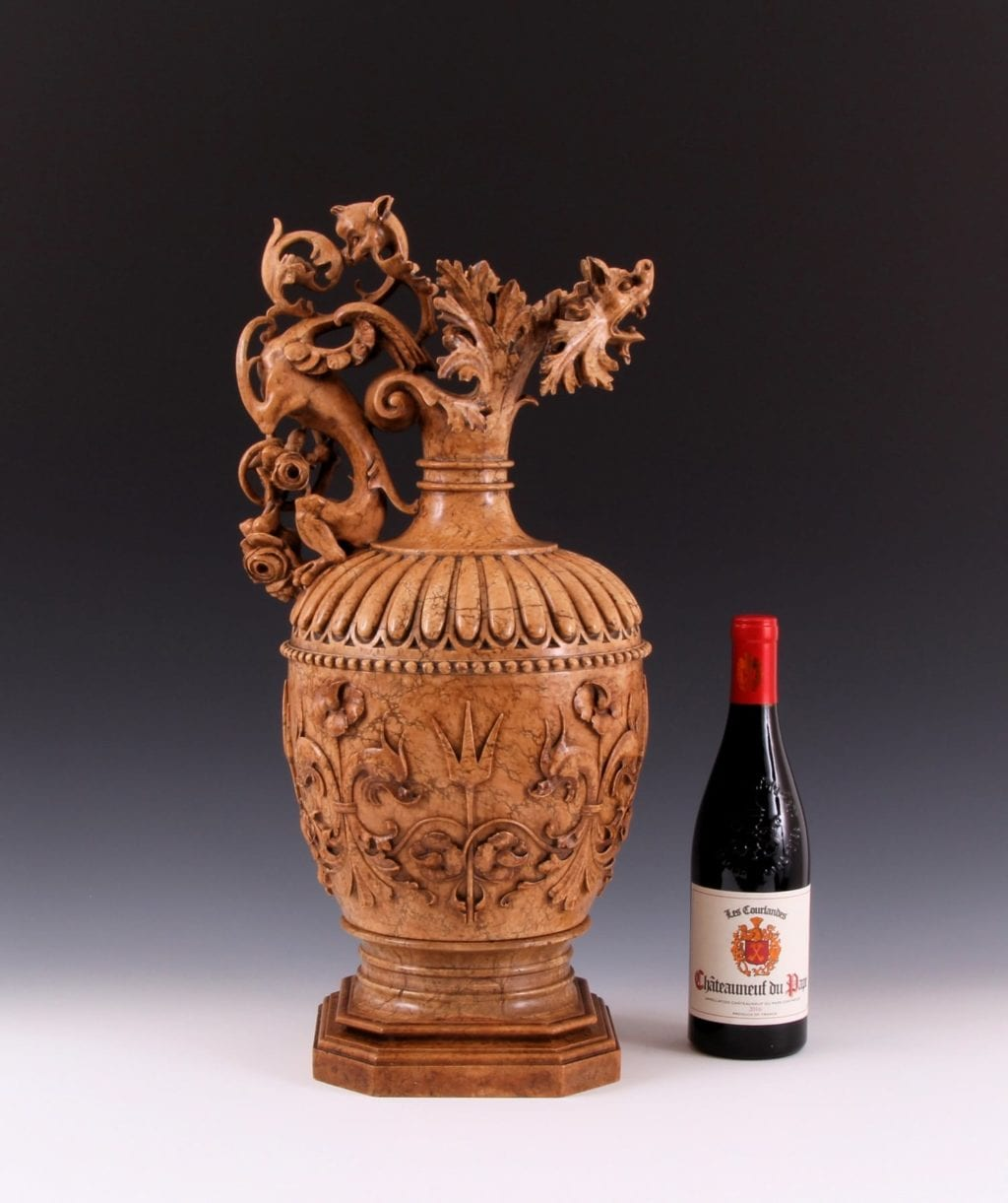 Magnificent & Important 19th Century Neo-Renaissance Carved Giallo Egitto Marble Ewer