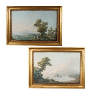 A pair of early 19th century gouache paintings of the Italian coast, by a great master of this genre, Camillo de Vito, each signed lower left. Retaining their original giltwood frames and hand blown glass.