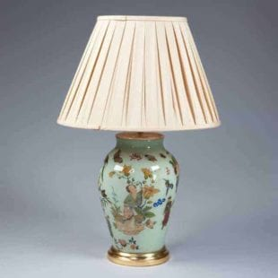 Antique Table Lamp - Green Decalcomania Vase