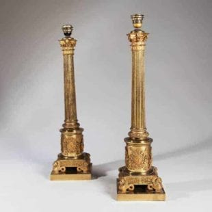 Large Antique Table Lamps - Gilt Corinthian Column Lamps