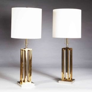 Mid-Century Chrome and Brass Table Lamps - Willy Daro