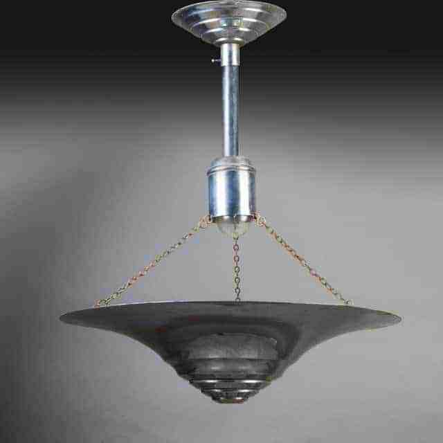 Art Deco Nickel Plated Ceiling Light