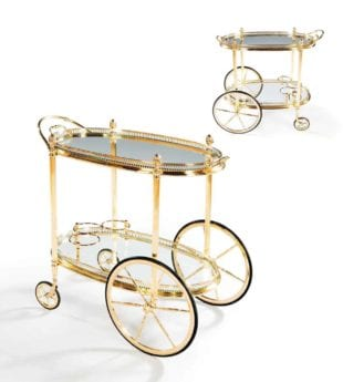 Pair of Maison Jansen Polished Brass Bar Carts