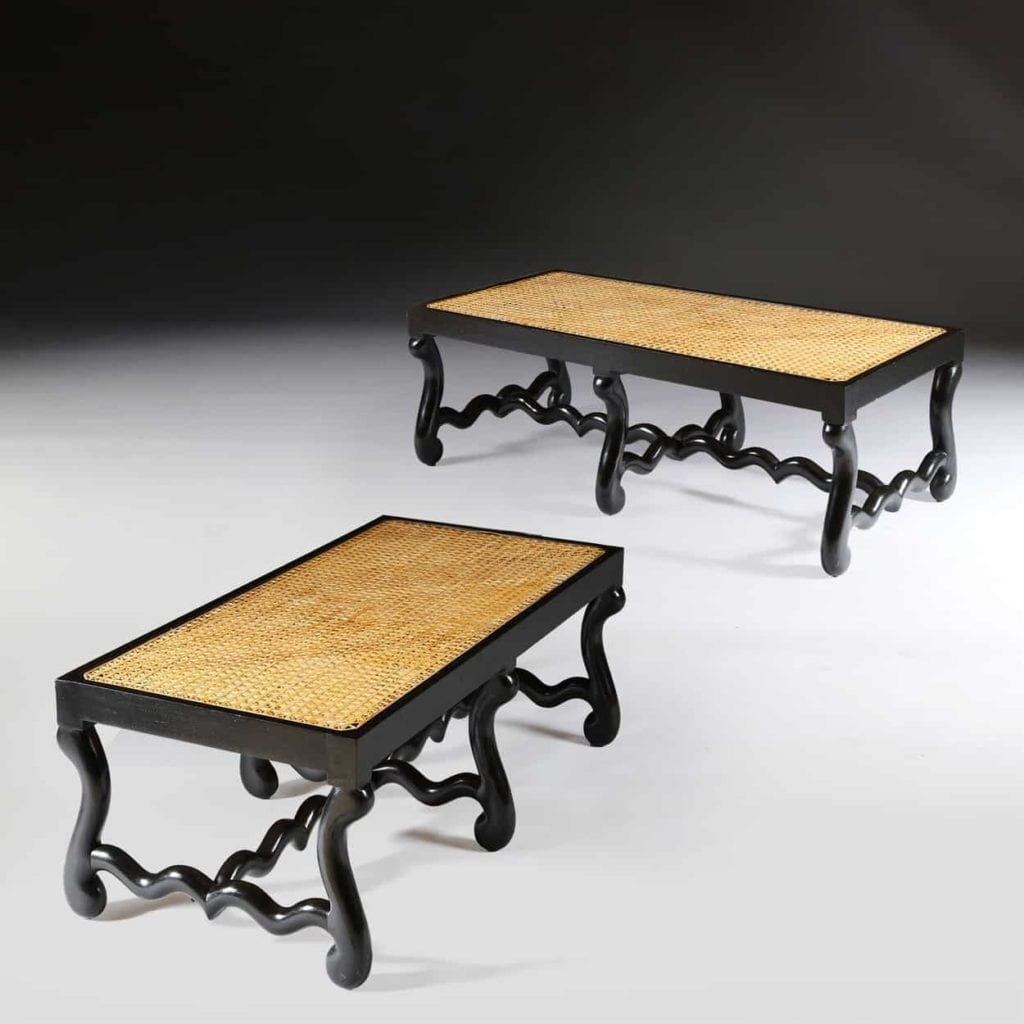 ebonised os de mouton long caned benches
