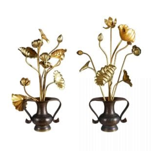 A collection of 20 Japanese Gold Lacquered Lotus Flowers in Bronze Mimikuchi Flying Handle Vases