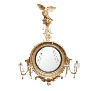 Large Regency Giltwood Convex Mirror with Eagle