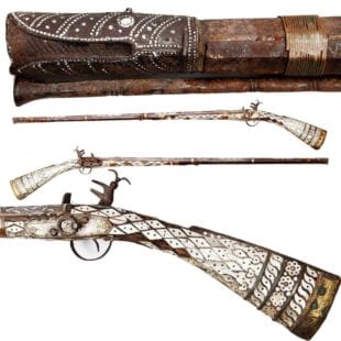 19th Century Ottoman Mother of Pearl Miquelet Gun