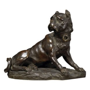 A fine 19th-century bronze casting of Mastiff dog, seated on a Siena marble base.  France, circa 1800
