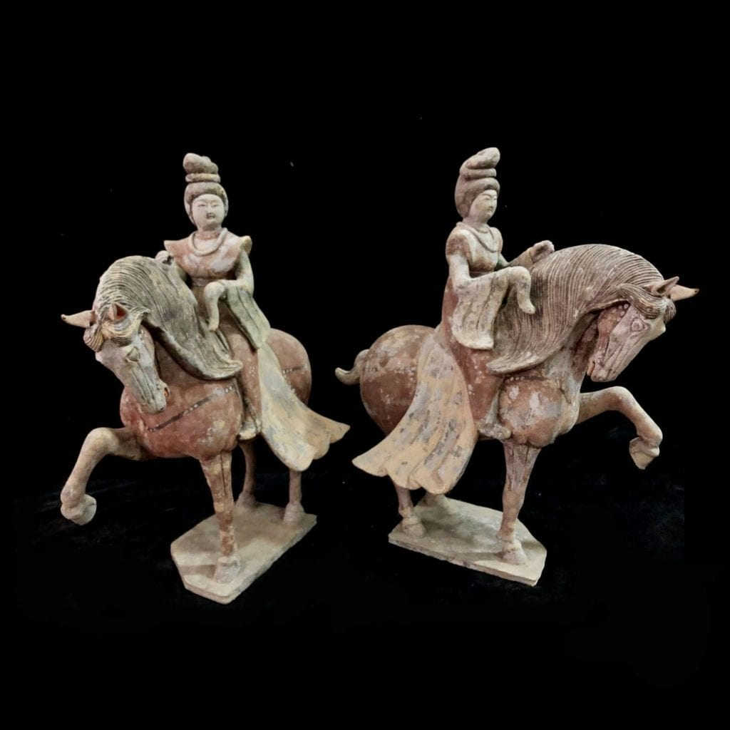 Pair Tang Pottery Ladies On Red Horses