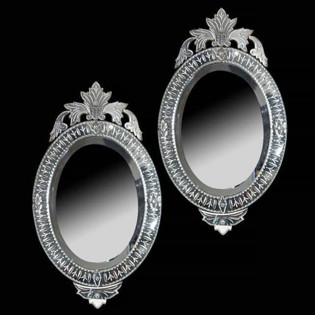 Pair of 19th Century Engraved Oval Venetian Style Mirrors