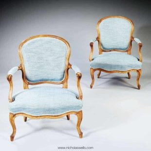 Pair of French Louis XV Rococo Fauteuils stamped Pothier