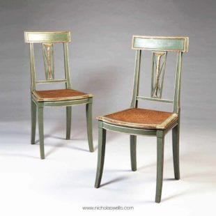 Pair of Green painted and Gold Italian Side Chairs