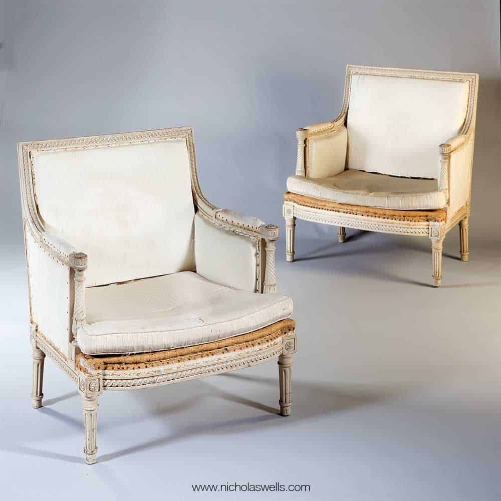 Pair of Neoclassical Off White Painted Marquise Armchairs