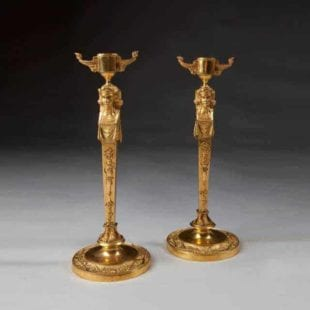 Pair Of Neo Egyptian Empire Gilt Bronze Candlesticks