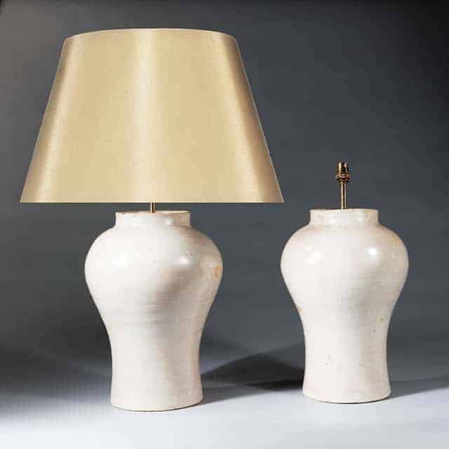 Antique Table Lamps - Pink Chinese Pottery Vases