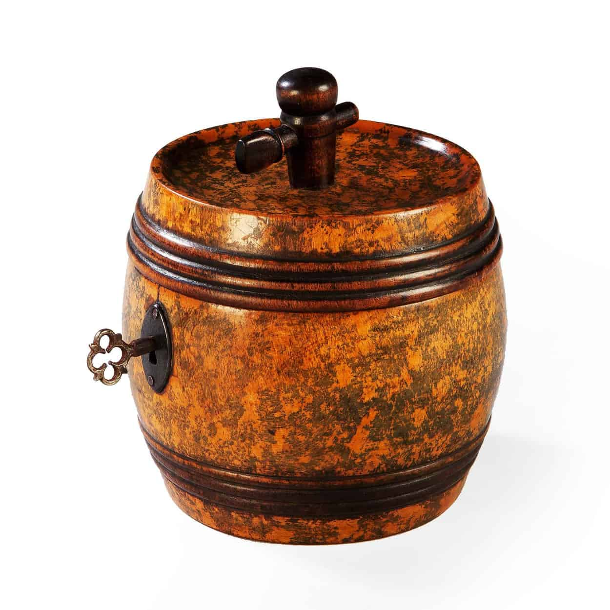 Fruitwood Barrel Tea Caddy