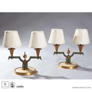 Art Deco Bronze lamps designed by Dominique and made by Genet and Michon