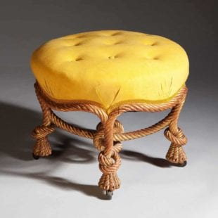 French Giltwood Knotted Rope Style Ottoman Stool