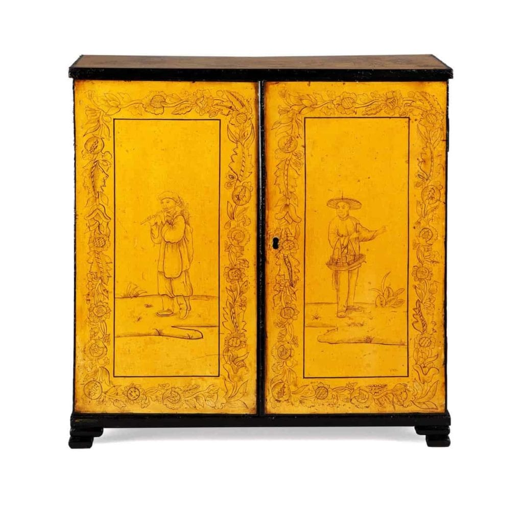 Small Regency Yellow Japanned Lacquer Table Top Cabinet