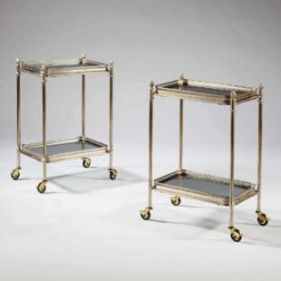 20th Century Nickel Plated Two Tier Tables