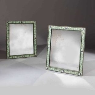 Pair Of Mogul Green Enamel Rectangular Mirrors