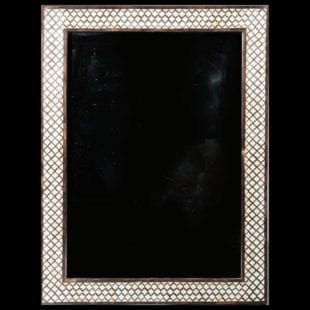 20th Century Geometric Pattern Bone Inlaid Wall Mirror