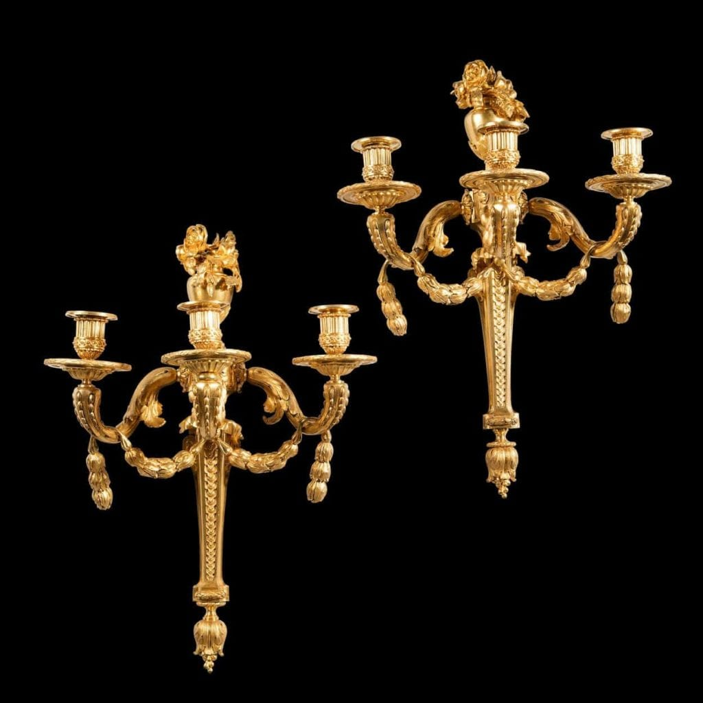 Louis XVI Gilt Bronze Wall Appliques Attributed To Jean-Charles Delafosse