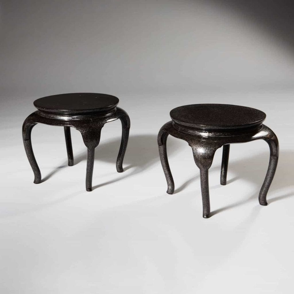 A pair of Art Deco Japanese lacquer low tables