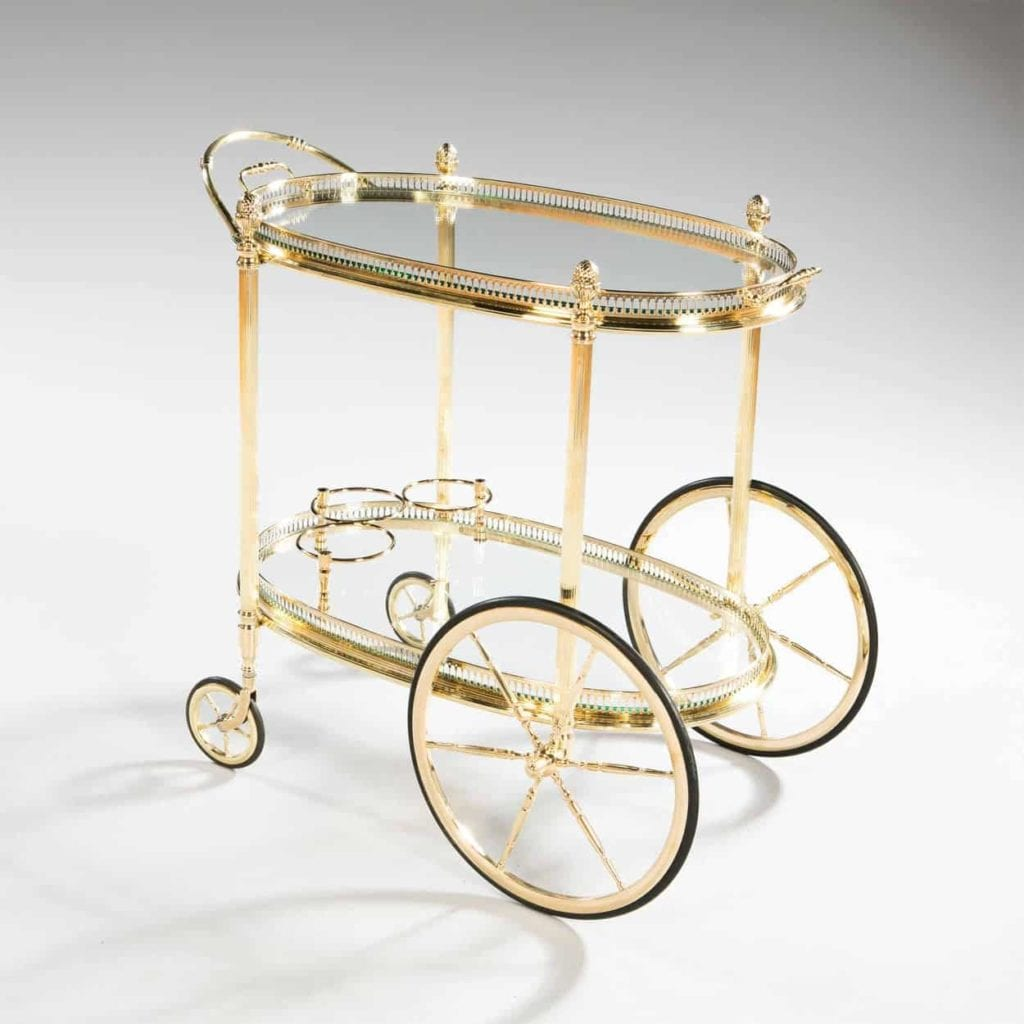 Mid Century Vintage Maison Bagues French Gold Bar Cart