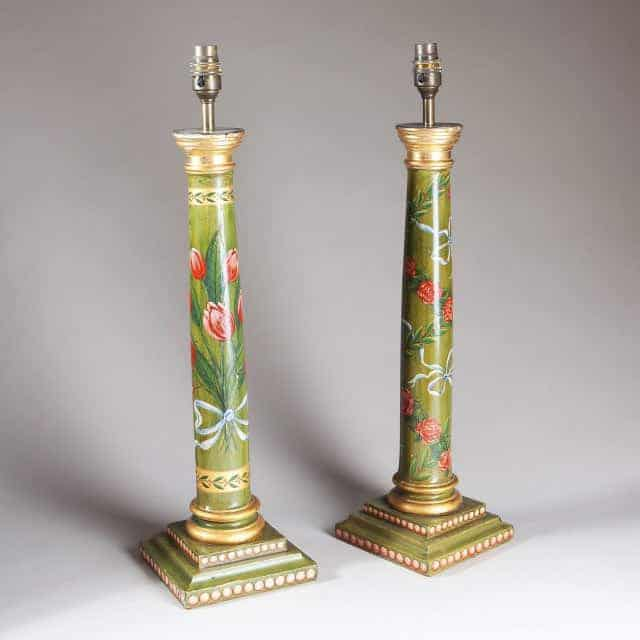 Antique column table lamps