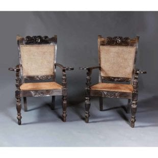 Large Pair of Ebony Arm Chairs from Ceylon
